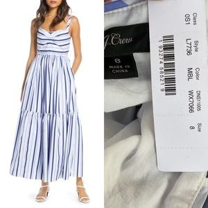 NWT J. Crew Shirting Stripe Tiered Maxi Dress Blue
